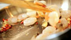 Stock Video Footage of Cooking Healthy Fresh Seafood Prawns