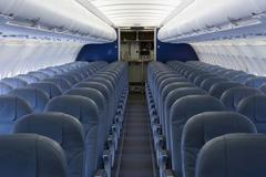 The empty cabin of an airplane - stock photo