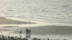 Children Running and Playing on Beach - stock footage