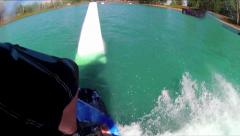 WAKEBOARD PARK SLOW MOTION RIDING TRICKS IN HD 1080 POINT OF VIEW PERSPECTIVE Stock Footage