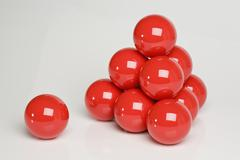 Snooker balls in a pyramid shape - stock photo