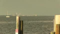 Downtown Tampa skyline across from docks Stock Footage