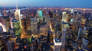 Stock Video Footage of New York skyline at sunset time lapse 6sec
