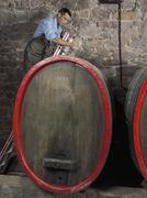 A vintner using a glass wine thief to get a sample from a barrel - stock photo