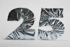 Number 25 wrapped in silver foil - stock photo