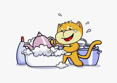 A cartoon cat doing the washing up Stock Illustration