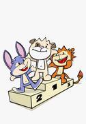 Three cartoon characters standing on a winners podium Stock Illustration