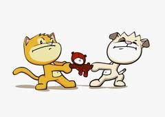 A cartoon cat and dog fighting over a teddy bear Stock Illustration