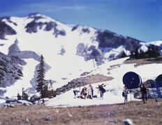 A ski resort, Whistler, British Columbia, Canada, tilt-shift photography Stock Photos