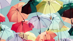 Background colorful umbrella street decoration. Stock Footage
