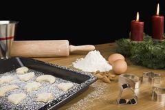 Baking cookies at Christmas Stock Photos