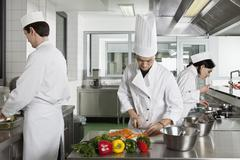 Stock Photo of Three chefs working in a commercial kitchen