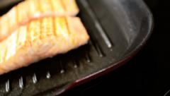 Alaskan Salmon Steaks Cooking Family Meal Stock Footage