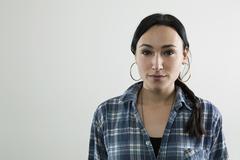 A content woman, portrait - stock photo