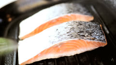 Close Up Healthy Lifestyle Cooking Salmon Steaks Stock Footage