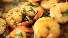 Delicious Healthy Meal Cooking Prawns Close Up - stock footage