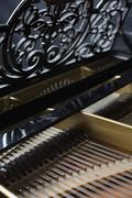 The inside of a piano Stock Photos