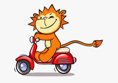 A lion on a motor scooter Stock Illustration