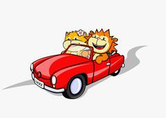 A lion and a cat in a convertible car Stock Illustration