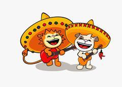 Leijona ja koira yllään sombreros ja soittivat kitaraa Piirros