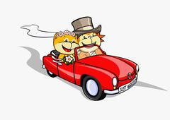 A lion and a cat just married in a convertible Stock Illustration