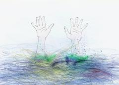 Hands reaching up from underwater Stock Illustration