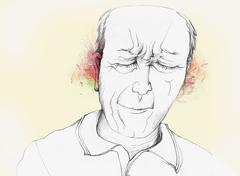 A man grimacing in pain from ear pain - stock illustration