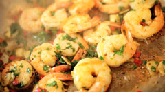 Fresh Prawns Cooking Healthy Diet Stock Footage