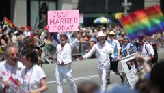 Gay parade in New York City same sex marriage couple Stock Footage