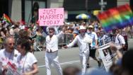 Stock Video Footage of Gay parade in New York City same sex marriage couple