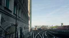 Train canary wharf in london, docklands light railway Stock Footage
