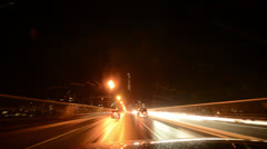 Time-Lapse Car Racing Lights Night Pursuit SF028GY  Stock Footage