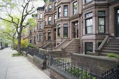 Brownstone townhouses, Brooklyn, New York City - stock photo