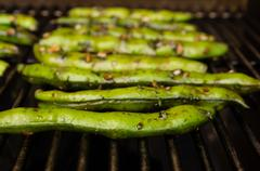 fava beans grilling or roasting - stock photo