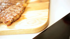 Luxury Cut Gourmet T-Bone Steak Healthy Meal Stock Footage