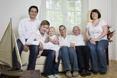 Formal portrait of a multi-generation family Stock Photos