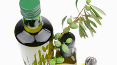 Olives on a branch with oil Stock Footage