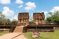 ancient ruins of royal palace - stock photo