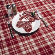 Raw meat in the shape of Africa and Europe arranged on a plate - stock photo
