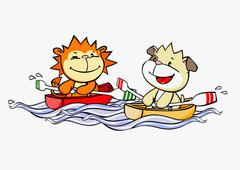 A cartoon lion and dog rowing boats - stock illustration