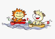 Stock Illustration of A cartoon lion and dog rowing boats