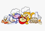 A cartoon cat and mouse baking together Stock Illustration