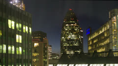 Gherkin building london england financial center business skyline at night Stock Footage