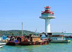 fisher boat in koh sichang harbor , chonburi ,thailand. - stock photo