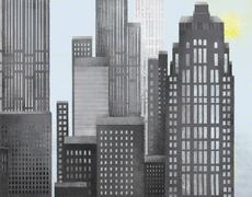Sun and skyscrapers Stock Illustration