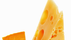 two pieces of french gourmet cheeses - stock footage