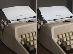 Two typewriters with the beginning and end of a script Stock Photos