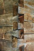 Corner of a wooden structure Stock Photos