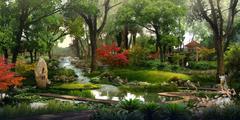 3d landscape visualization - stock illustration