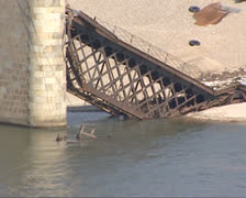 Collapsed Hintze Ribeiro Bridge at Entre-os-Rios  - close up Stock Footage